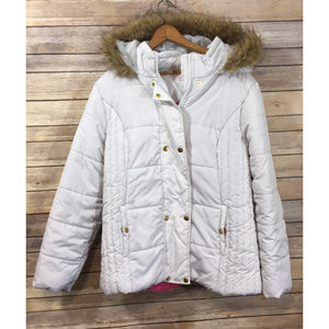 Krush White Pink Puffy Winter Coat Fur Hoodie Jnrs